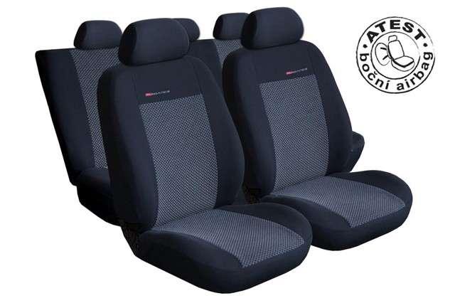 Autopotahy Škoda Fabia I,dělená,5 opěrek hlavy,boční airbag, šedo černé LUX STYLE Vyrobeno v EU