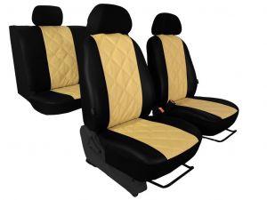 Autopotahy EMBOSSY kožené, kosočtvercový plastický vzor, béžové
