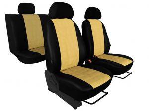 Autopotahy EMBOSSY kožené, pruhovaný plastický vzor, béžové