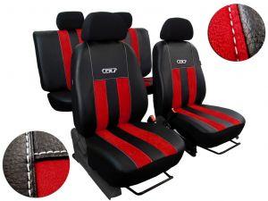 Autopotahy Peugeot Boxer II, 3 místa, stolek, GT kožené s alcantarou, červené