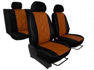 Autopotahy Škoda Octavia I, kožené EMBOSSY, dělené zadní sedadla, hnědé