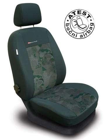Autopotahy Škoda Octavia II, dělená, bez zadní loketní opěrky, boční airbagy, LUX STYLE zelené Vyrobeno v EU