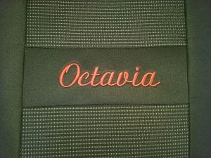 Autopotahy LUXUS ŠKODA OCTAVIA I 1996-2005 (zadní dělená,4.opěrky hlavy) OR 135,černé boky,nápis červeně. Vyrobeno v České Republice