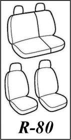 Autopotahy Škoda Fabia I, kožené EXCLUSIVE černošedé, dělené zadní sedadla