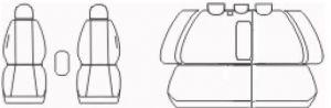 Autopotahy Škoda Octavia II, AUTENTIC VELVET, dělená, zadní loketní opěrka, černooranžové