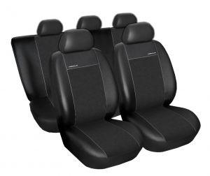 Autopotahy Škoda Octavia III, dělená s loketní op. Eco kůže + alcantara černé