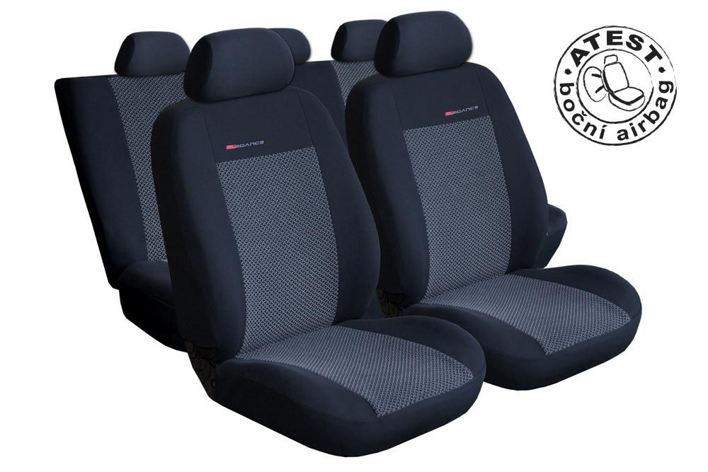 Autopotahy Seat Toledo III, od r. 2005, dělené zadní opěradlo, šedo černé Vyrobeno v EU