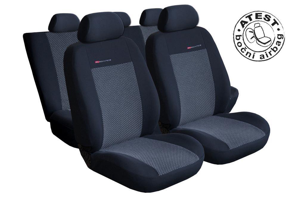 Autopotahy VW Golf VI, dělené zad. opěradlo a sedadlo, zad. lok. op.,od r.2008, šedo černé Vyrobeno v EU