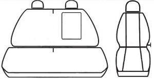 Autopotahy Mercedes Sprinter II, 3 místný, od r. 2006, Eco kůže + alcantara černé Vyrobeno v EU