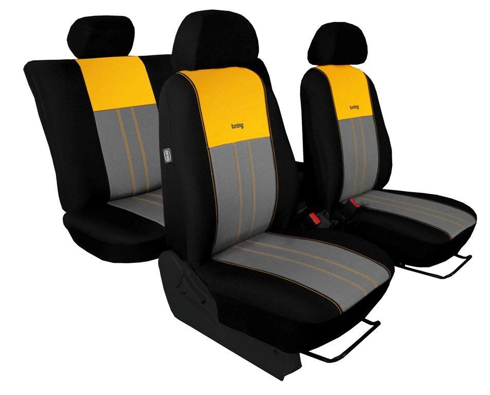 Autopotahy ŠKODA RAPID, integrované přední opěrky hlavy, DUO žluto šedé