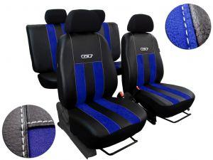 Autopotahy ŠKODA RAPID, integrované přední opěrky hlavy, GT kůže a alcantara modré