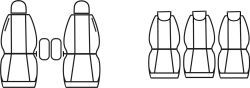 Autopotahy Renault Scenic II, od r. 2003-2009, 5míst, Eco kůže + alcantara šedé Vyrobeno v EU