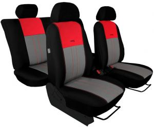 Autopotahy VOLKSWAGEN POLO V, dělená zadní sedadla, od r. v.2009, DUO TUNING červeno šedé
