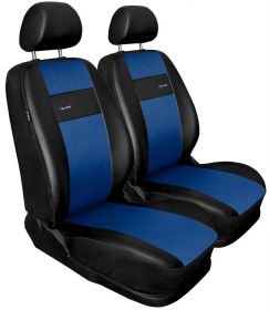 Autopotahy X-LINE kožené, sada pro dvě sedadla, modré