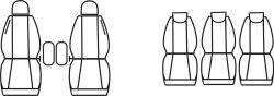 Autopotahy Citroen Berlingo II XTR VAN, 5 SEDADEL, od r.2008, šedo černé Vyrobeno v EU