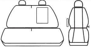 Autopotahy Volkswagen Crafter, 3 místa, od r. 2006, černé Vyrobeno v EU