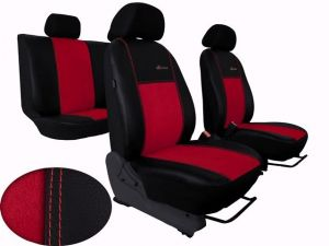 Autopotahy Citroen C4 PICASSO I, od r.2004-2010, 5 míst,kožené s alcant. EXCLUSIVE červené