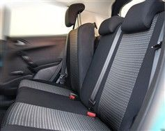 Autopotahy PRACTIC Škoda Octavia II, dělená, zadní loketní opěrka,boční airbag,5 opěrek hlavy,vzor PRACTIC Vyrobeno v EU