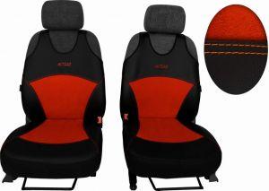 Autopotahy Active Sport kožené s alcantarou, sada pro dvě sedadla, cíhlové