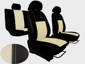 Autopotahy Škoda Fabia I, kožené EXCLUSIVE béžové, nedělené zadní sedadla