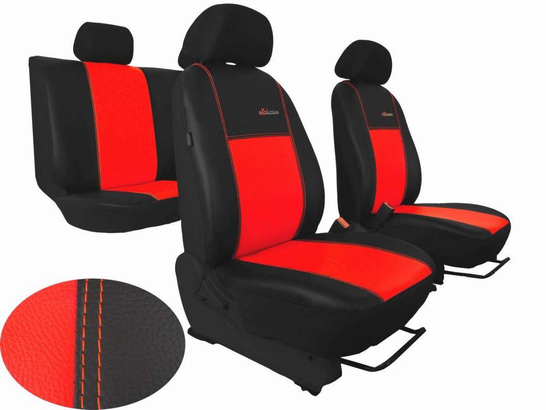 Autopotahy Škoda Fabia I, kožené EXCLUSIVE černočervené, dělené zadní sedadla, 5 opěrek hl Vyrobeno v EU