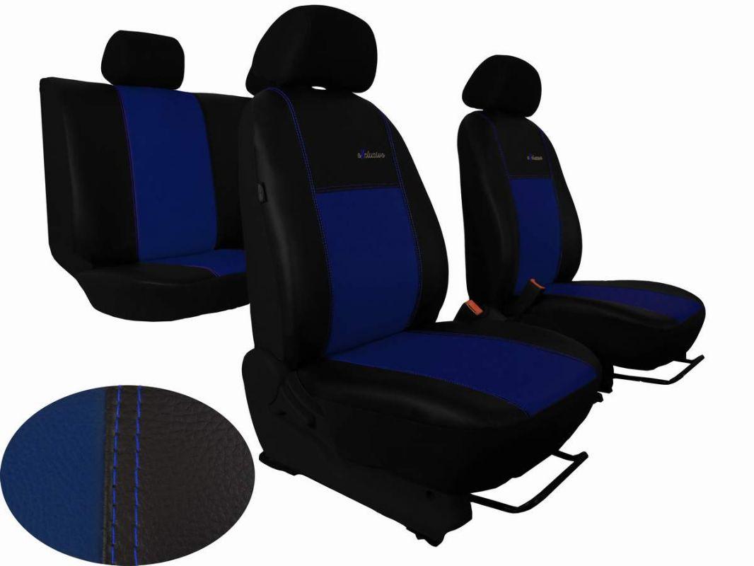 Autopotahy Škoda Fabia I, kožené EXCLUSIVE černomodré, nedělené zadní sedadla Vyrobeno v EU