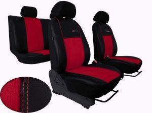 Autopotahy Škoda Fabia I, kožené s alcantarou EXCLUSIVE tmavočervené, dělená sedadla