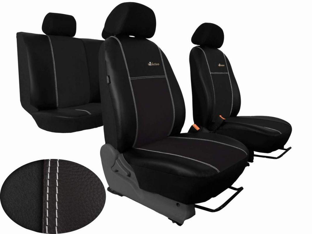 Autopotahy Škoda Fabia I, kožené s alcantarou EXCLUSIVE černé, dělené, 5 op. hlavy