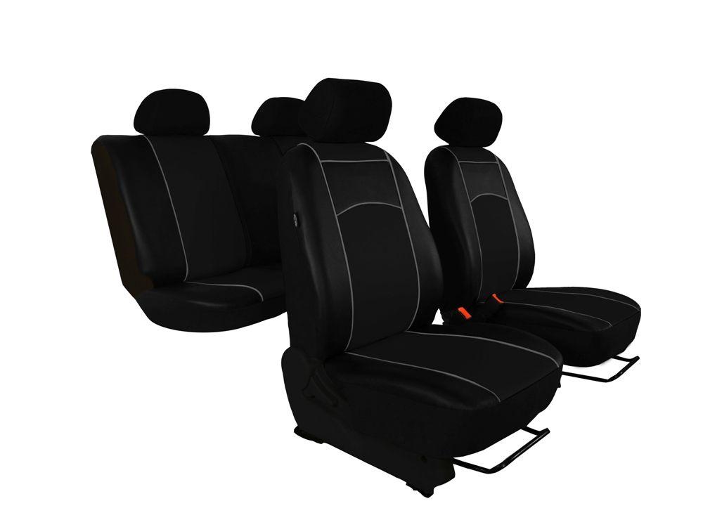 Autopotahy Škoda Fabia I kožené Tuning černé, dělené zadní sedadla