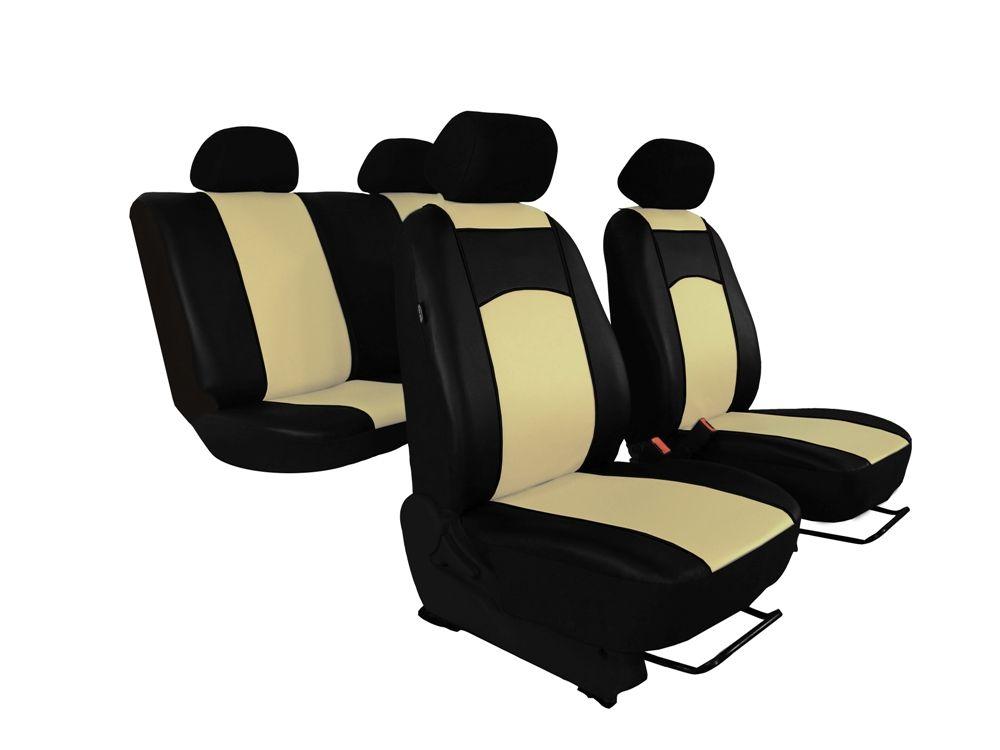 Autopotahy Škoda Fabia I, kožené Tuning černobéžové, nedělené zadní sedadla Vyrobeno v EU