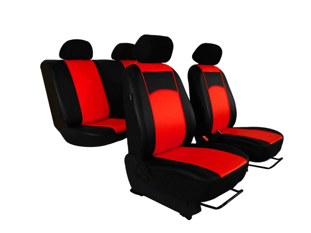 Autopotahy Škoda Fabia I, kožené Tuning černočervené, nedělené zadní sedadla
