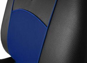 Autopotahy Škoda Fabia I kožené Tuning černomodré, dělené zadní sedadla