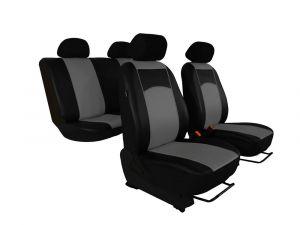 Autopotahy Škoda Fabia I, kožené Tuning černošedé, nedělené zadní sedadla