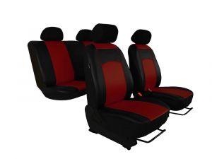 Autopotahy Škoda Fabia I kožené Tuning černovínové, dělené zadní sedadla