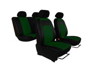 Autopotahy Škoda Fabia I kožené Tuning černozelené, dělené zadní sedadla