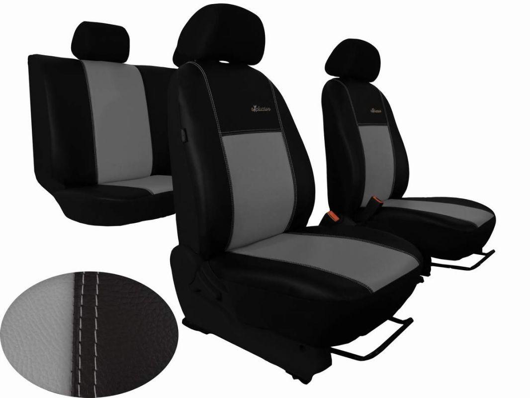 Autopotahy Škoda Fabia II, kožené EXCLUSIVE černošedé, nedělené zadní sedadla