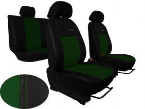 Autopotahy Škoda Fabia II, kožené EXCLUSIVE černozelené, dělené zadní sedadla