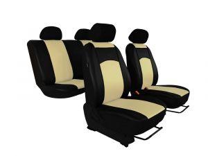Autopotahy Škoda Fabia II, kožené Tuning černobéžové, nedělené zadní sedadla