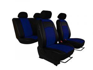 Autopotahy Škoda Fabia II, kožené Tuning černomodré, dělené zadní sedadla