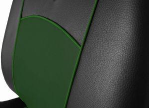 Autopotahy Škoda Fabia II, kožené Tuning černozelené, nedělené zadní sedadla